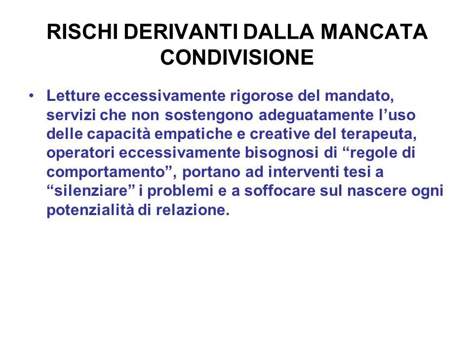 RISCHI DERIVANTI DALLA MANCATA CONDIVISIONE