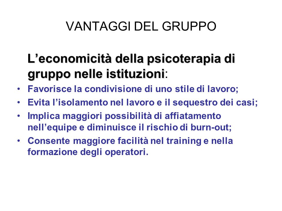 L'economicità della psicoterapia di gruppo nelle istituzioni:
