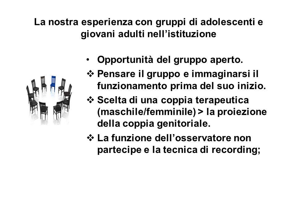 La nostra esperienza con gruppi di adolescenti e giovani adulti nell'istituzione