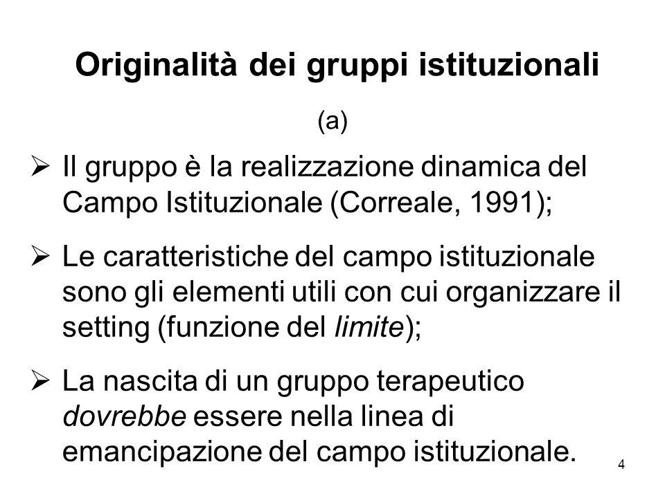 Originalità dei gruppi istituzionali (a)