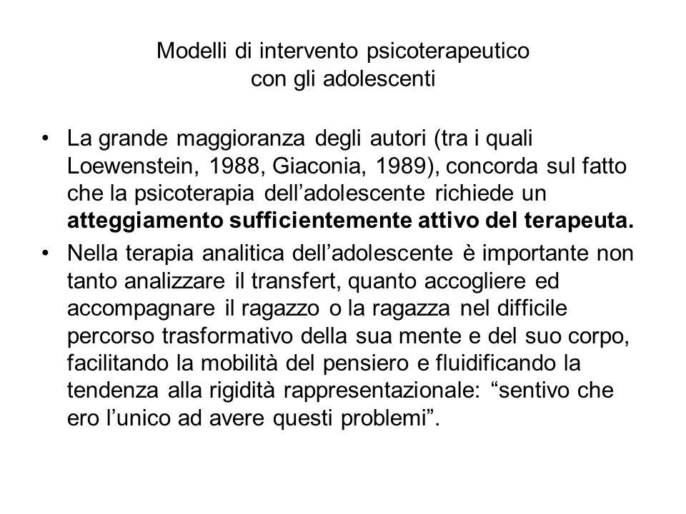 Modelli di intervento psicoterapeutico con gli adolescenti