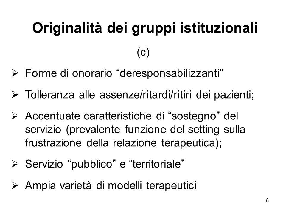 Originalità dei gruppi istituzionali (c)
