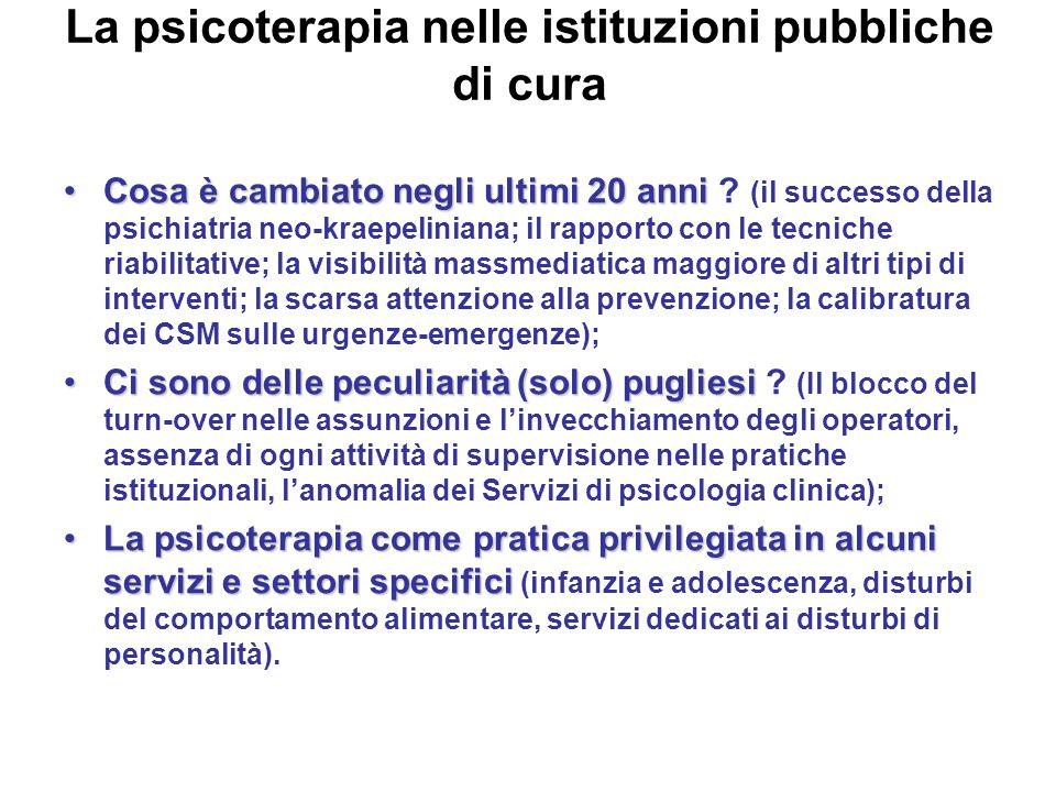 La psicoterapia nelle istituzioni pubbliche di cura