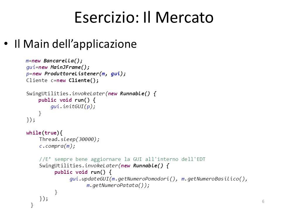 Esercizio: Il Mercato Il Main dell'applicazione gui=new MainJFrame();