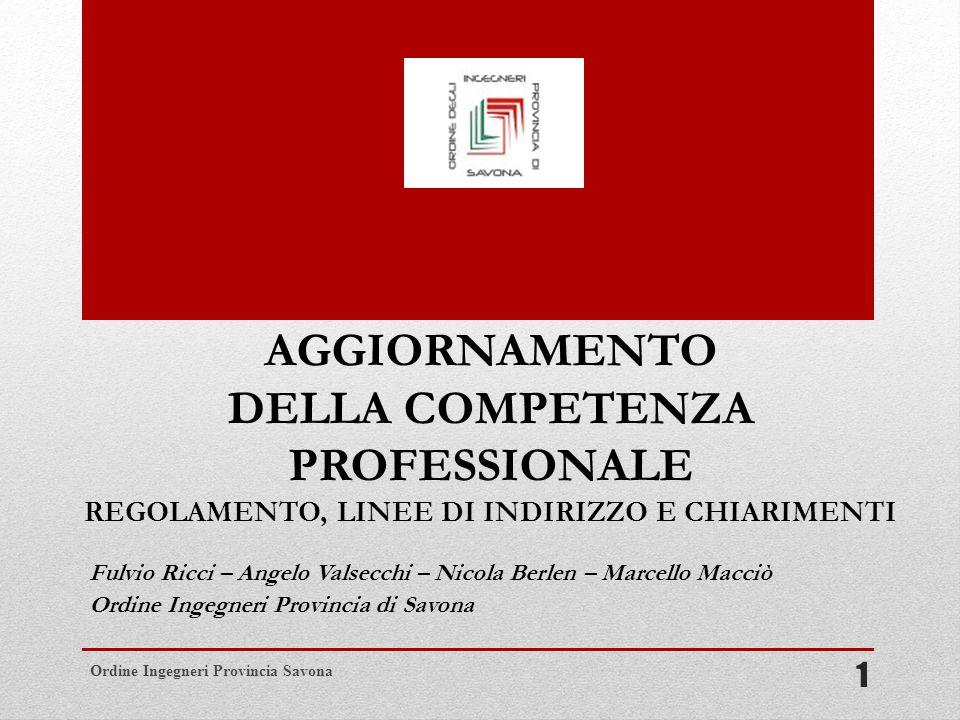 AGGIORNAMENTO DELLA COMPETENZA PROFESSIONALE REGOLAMENTO, LINEE DI INDIRIZZO E CHIARIMENTI