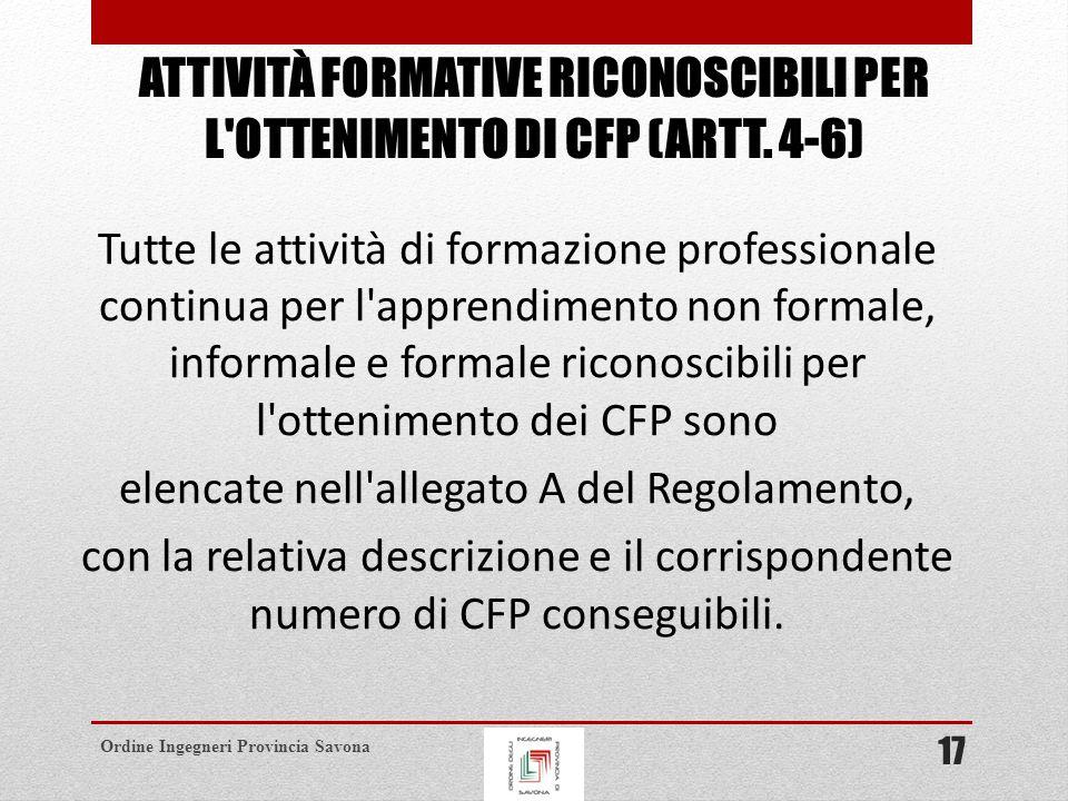 ATTIVITÀ FORMATIVE RICONOSCIBILI PER L OTTENIMENTO DI CFP (ARTT. 4-6)