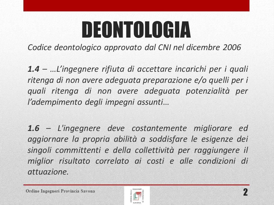 DEONTOLOGIA Codice deontologico approvato dal CNI nel dicembre 2006
