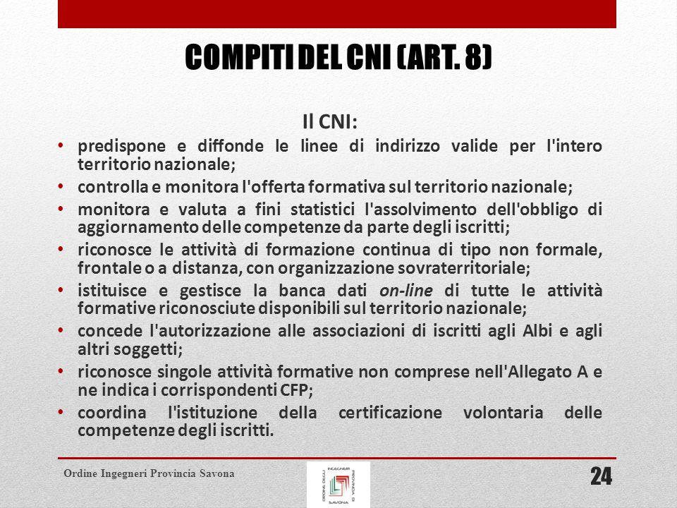 compiti del cni (art. 8) Il CNI: