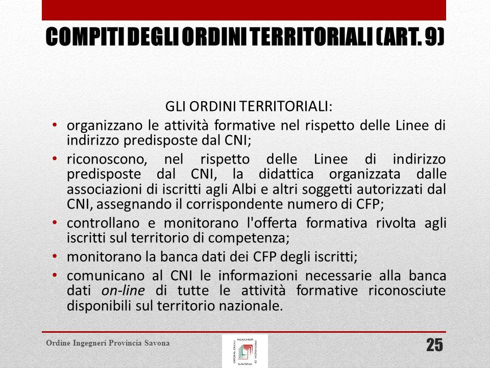 Compiti degli ordini territoriali (art. 9)