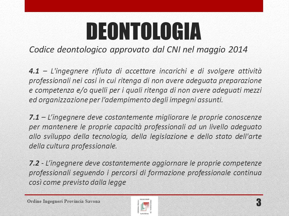DEONTOLOGIA Codice deontologico approvato dal CNI nel maggio 2014 3