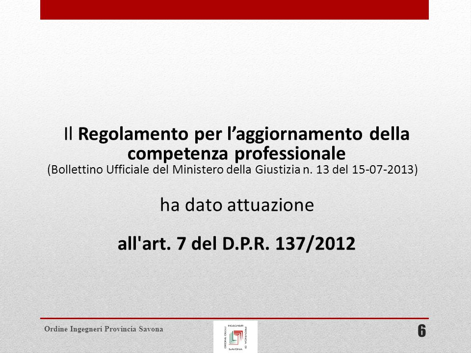 Il Regolamento per l'aggiornamento della competenza professionale