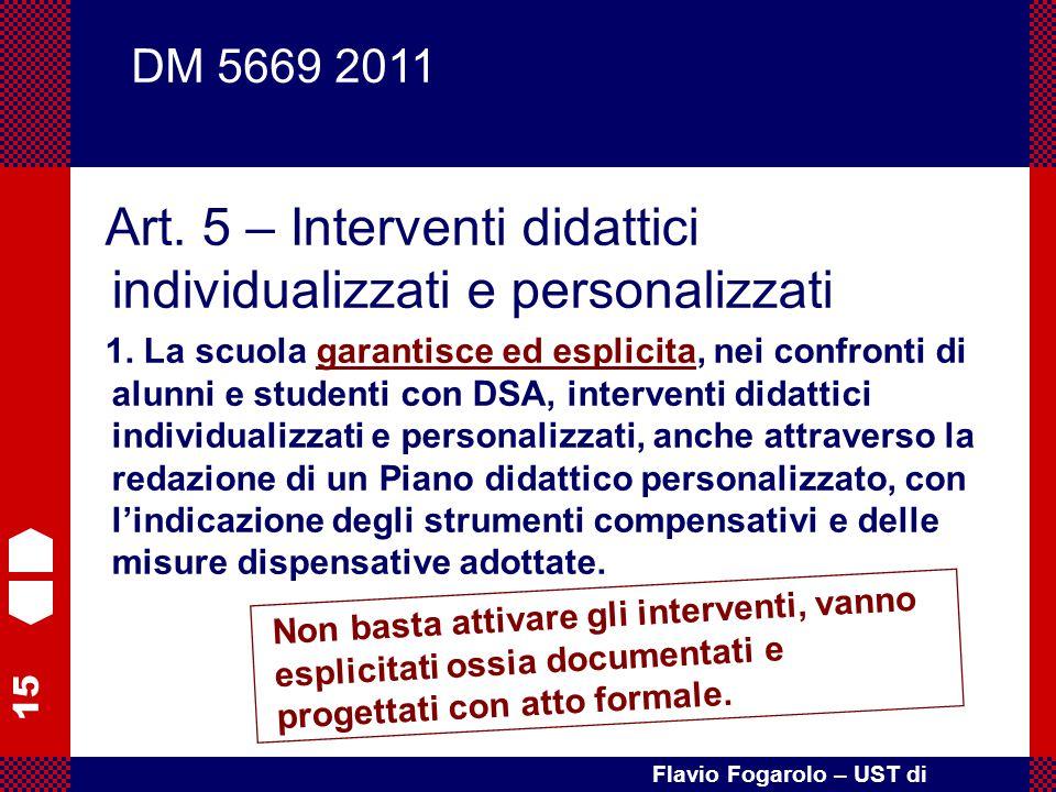Art. 5 – Interventi didattici individualizzati e personalizzati