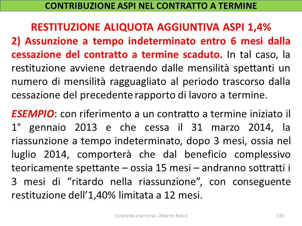 CONTRIBUZIONE ASPI NEL CONTRATTO A TERMINE