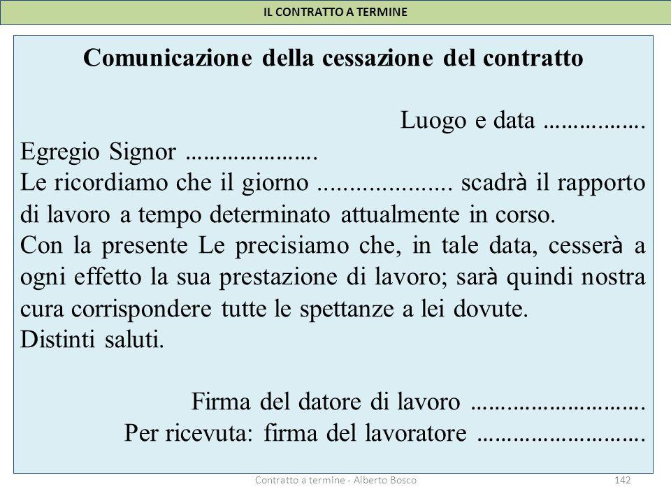 Comunicazione della cessazione del contratto Luogo e data ……….…….