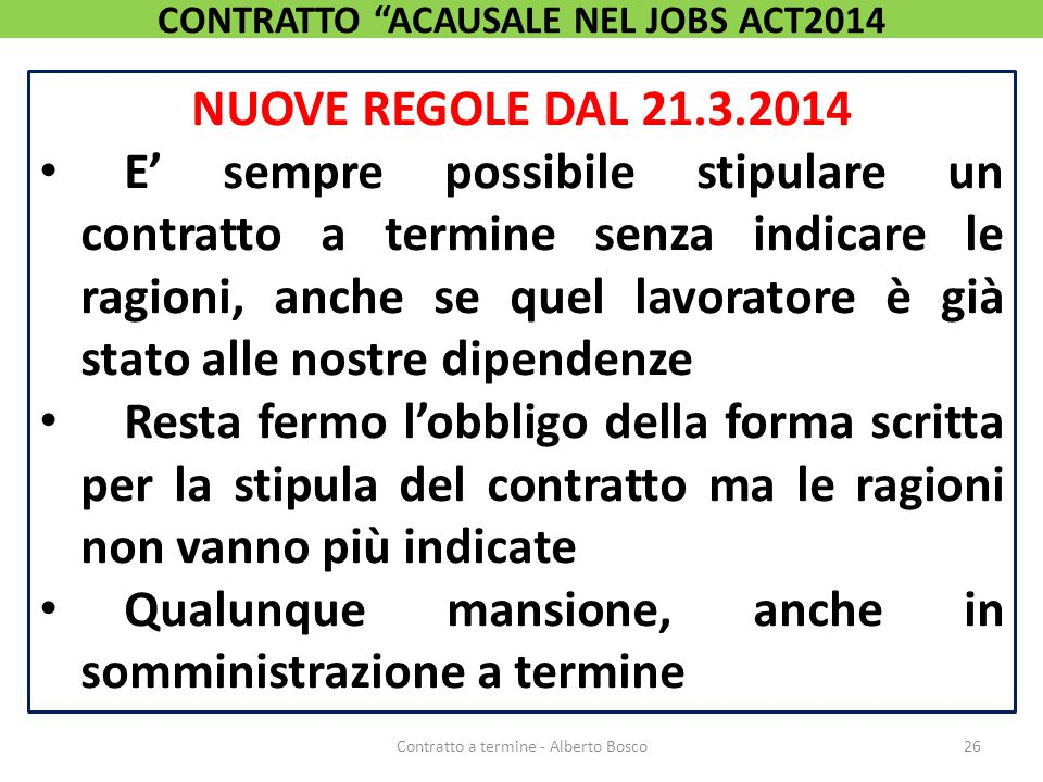CONTRATTO ACAUSALE NEL JOBS ACT2014