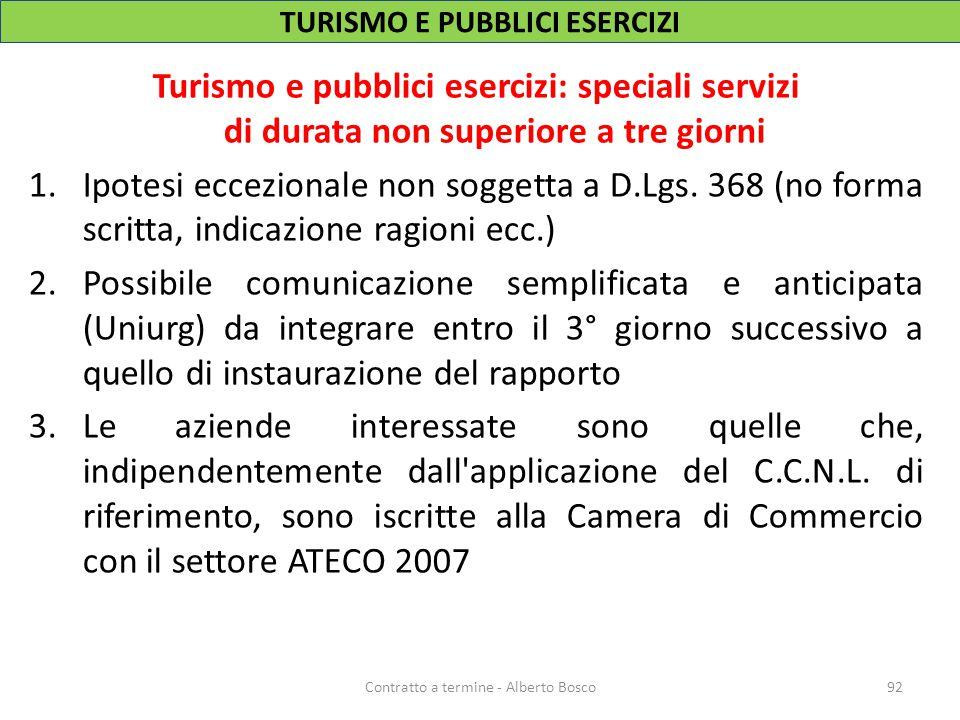 TURISMO E PUBBLICI ESERCIZI