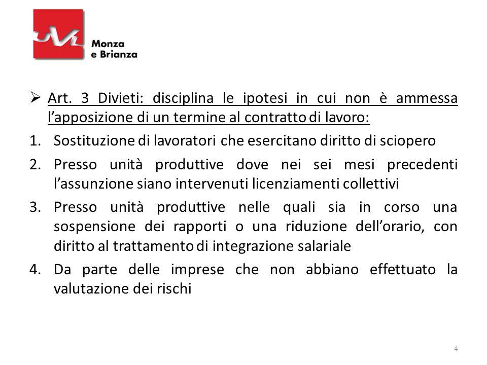 Art. 3 Divieti: disciplina le ipotesi in cui non è ammessa l'apposizione di un termine al contratto di lavoro: