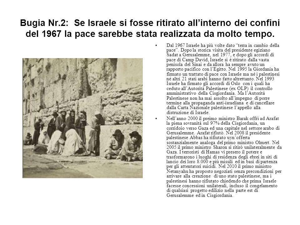Bugia Nr.2: Se Israele si fosse ritirato all'interno dei confini del 1967 la pace sarebbe stata realizzata da molto tempo.