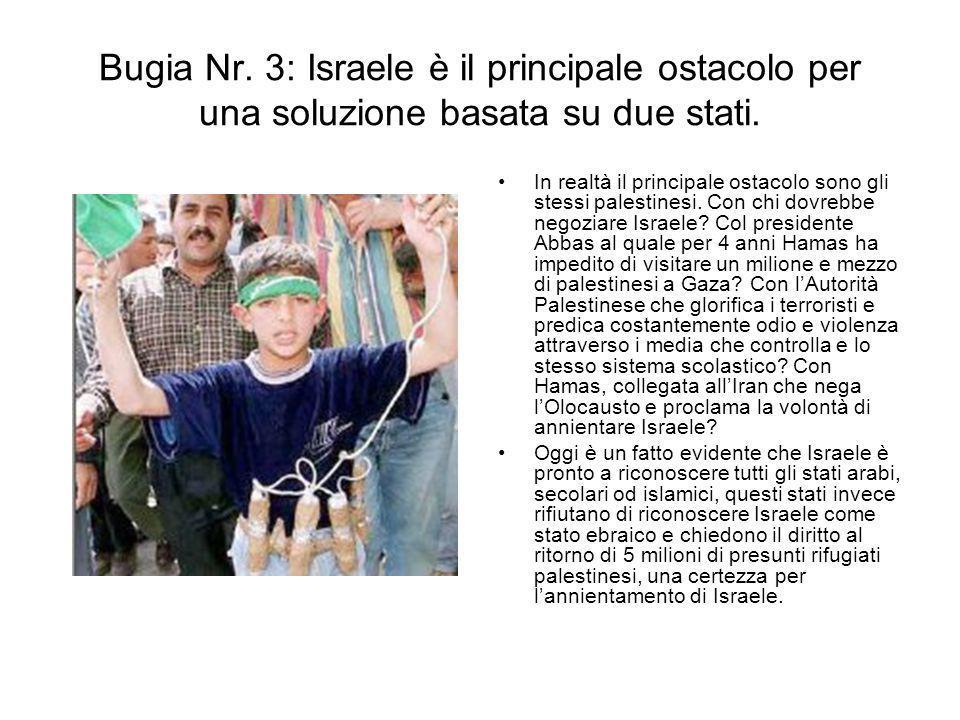 Bugia Nr. 3: Israele è il principale ostacolo per una soluzione basata su due stati.