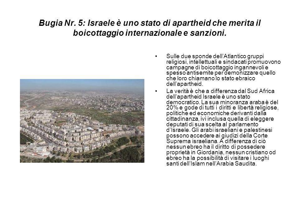 Bugia Nr. 5: Israele è uno stato di apartheid che merita il boicottaggio internazionale e sanzioni.