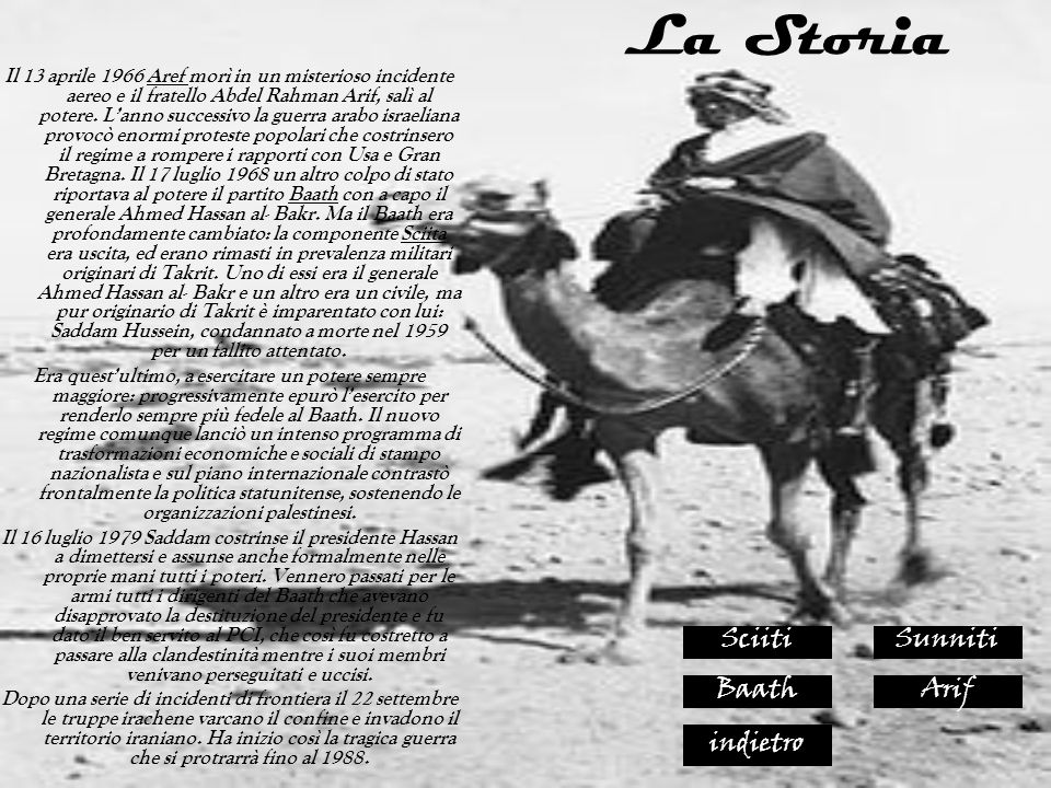 La Storia Sciiti Sunniti Baath Arif indietro