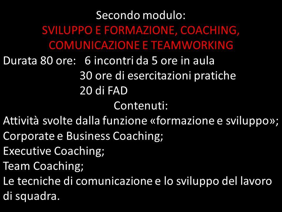 SVILUPPO E FORMAZIONE, COACHING, COMUNICAZIONE E TEAMWORKING