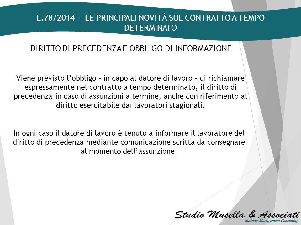 L.78/2014 - LE PRINCIPALI NOVITÀ SUL CONTRATTO A TEMPO DETERMINATO