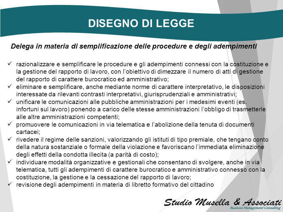 DISEGNO DI LEGGE Delega in materia di semplificazione delle procedure e degli adempimenti.