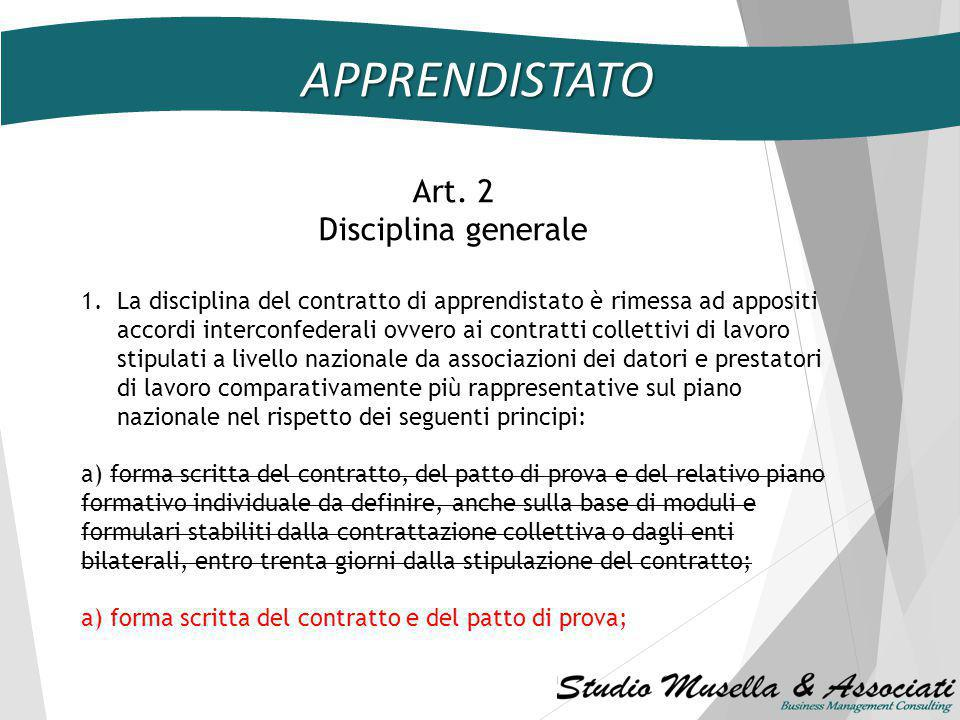 APPRENDISTATO Art. 2 Disciplina generale