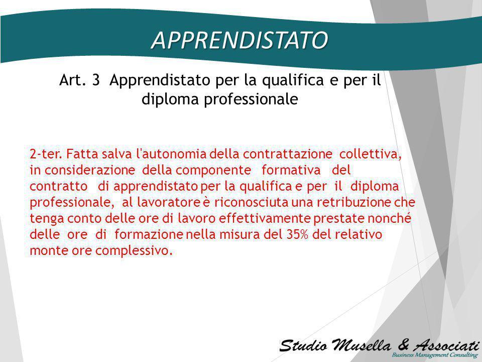 Art. 3 Apprendistato per la qualifica e per il diploma professionale