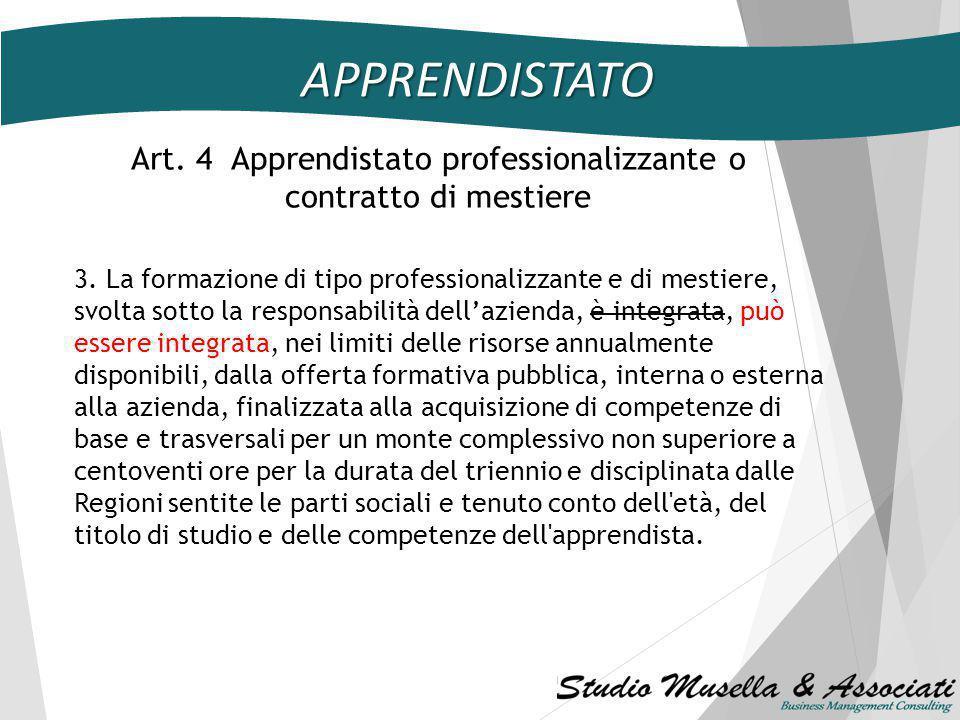 Art. 4 Apprendistato professionalizzante o contratto di mestiere