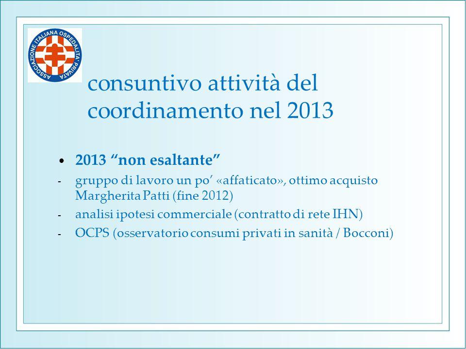 consuntivo attività del coordinamento nel 2013