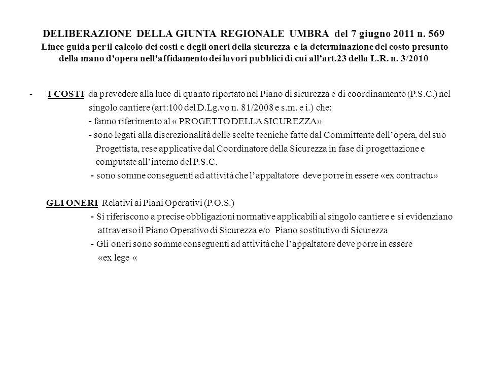 DELIBERAZIONE DELLA GIUNTA REGIONALE UMBRA del 7 giugno 2011 n
