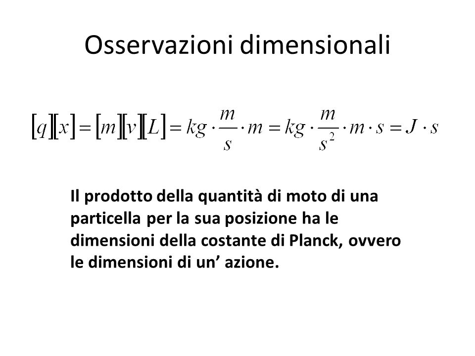 Osservazioni dimensionali