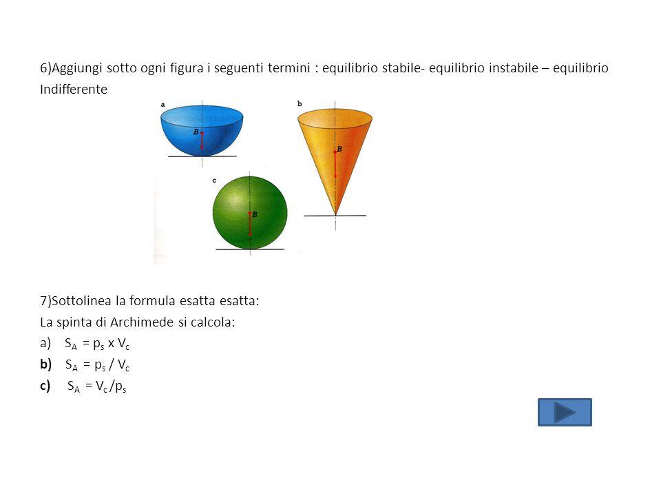 6)Aggiungi sotto ogni figura i seguenti termini : equilibrio stabile- equilibrio instabile – equilibrio