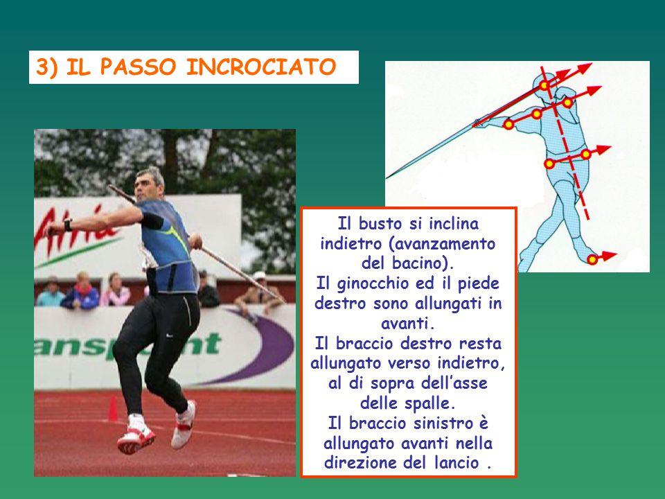 3) IL PASSO INCROCIATO Il busto si inclina indietro (avanzamento del bacino). Il ginocchio ed il piede destro sono allungati in avanti.