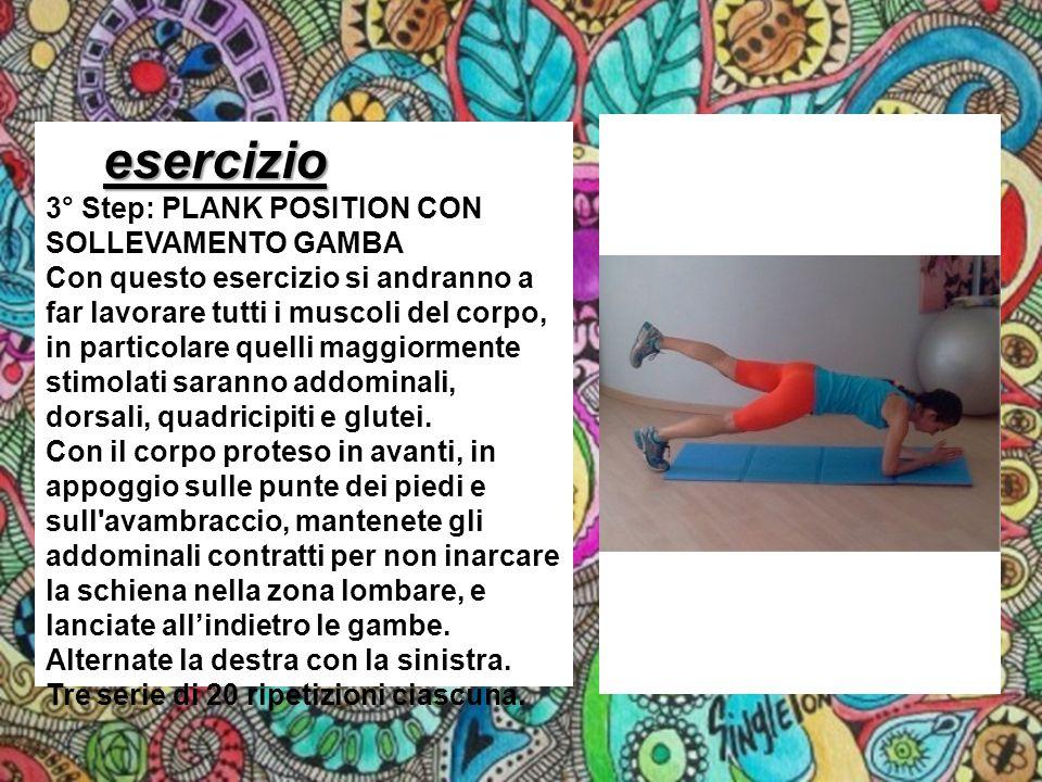 esercizio 3° Step: PLANK POSITION CON SOLLEVAMENTO GAMBA
