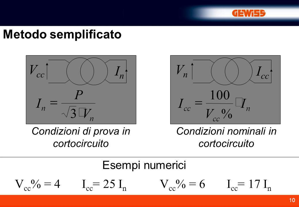 Vcc In Vn Icc I P V = × 3 I V = × 100 % Metodo semplificato