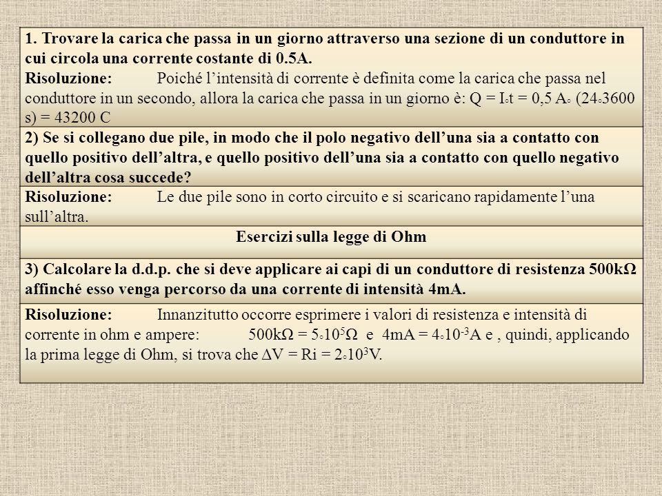 Esercizi sulla legge di Ohm