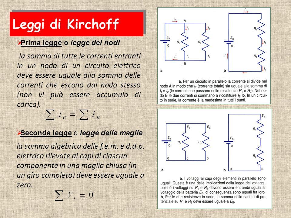 Leggi di Kirchoff Prima legge o legge dei nodi.