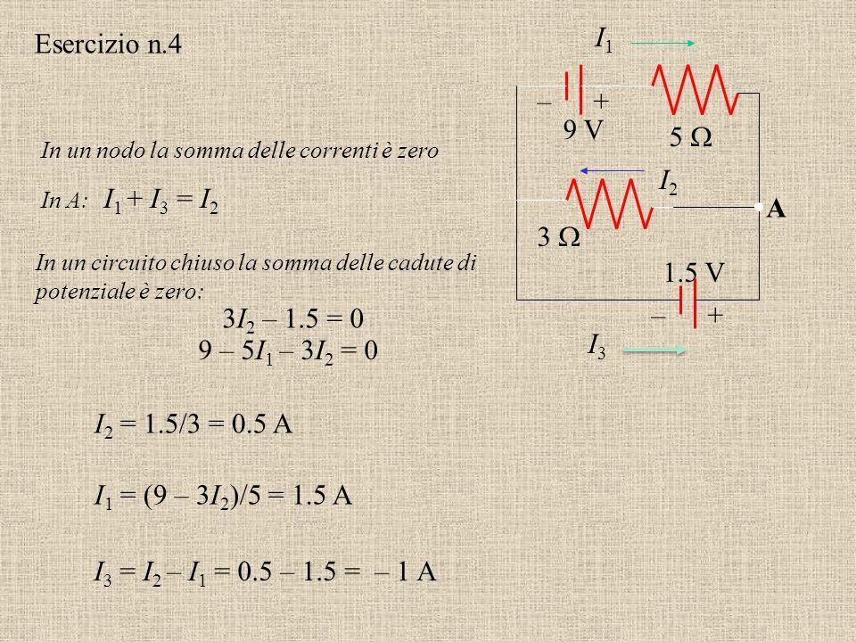 I1 I3 I2 Esercizio n.4 + – 9 V 5  A 3  1.5 V + – 3I2 – 1.5 = 0