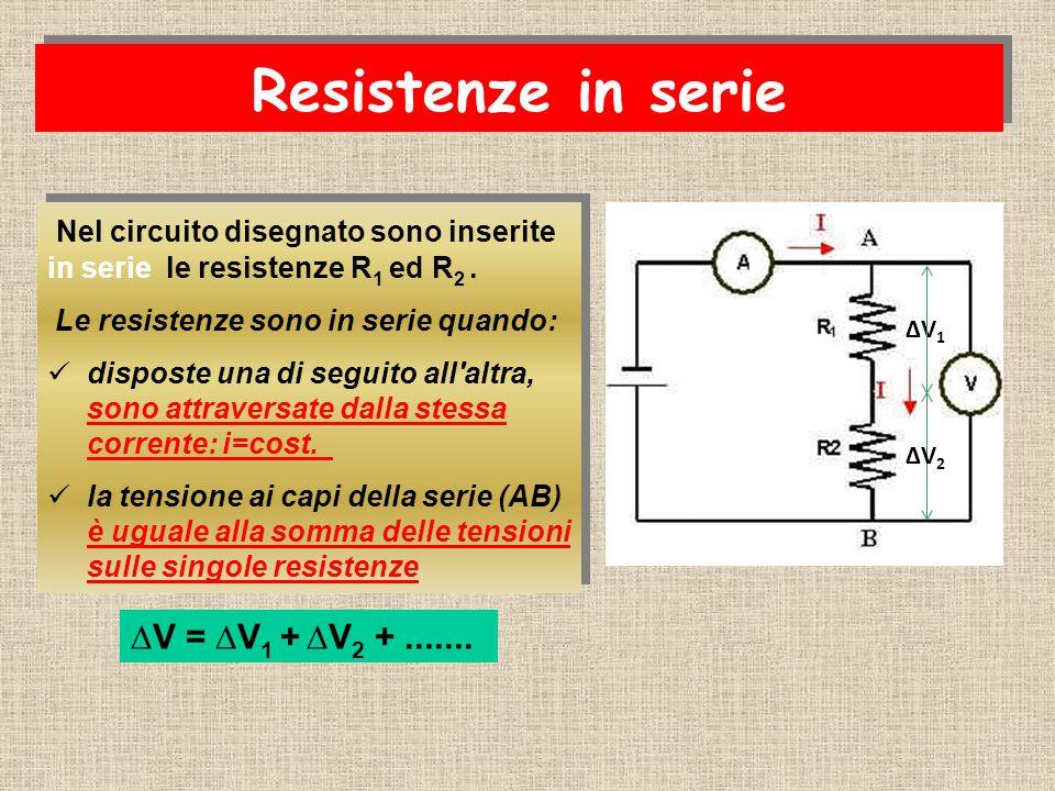 Resistenze in serie Nel circuito disegnato sono inserite in serie le resistenze R1 ed R2 . Le resistenze sono in serie quando: