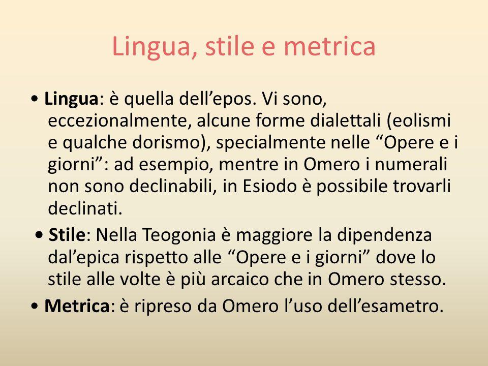 Lingua, stile e metrica