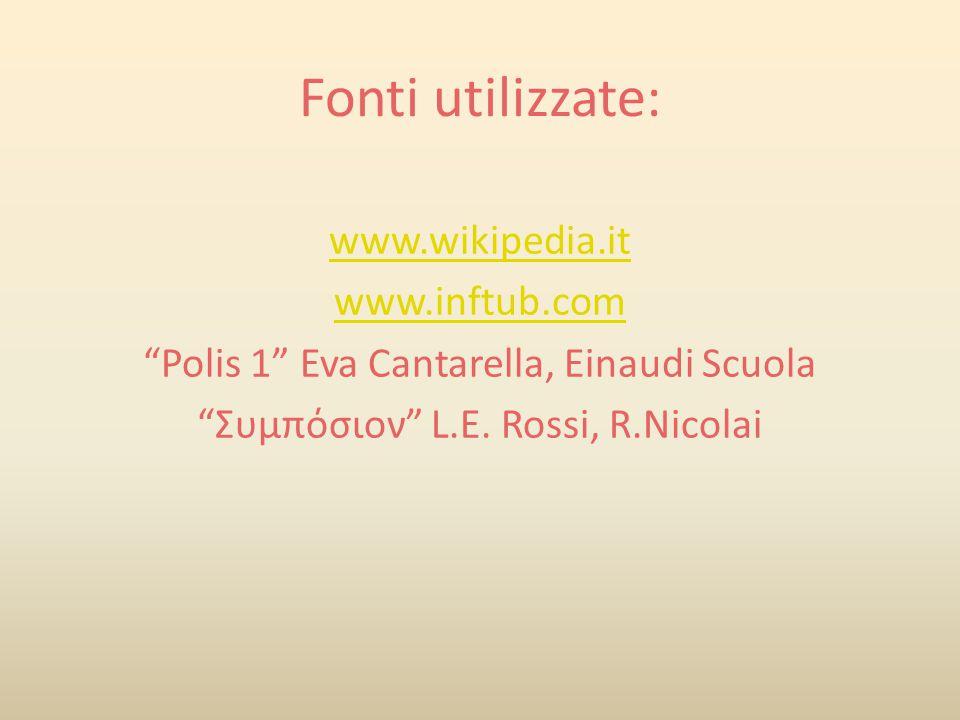 Fonti utilizzate: www.wikipedia.it www.inftub.com Polis 1 Eva Cantarella, Einaudi Scuola Συμπόσιον L.E.