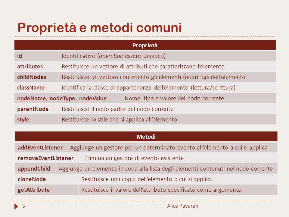 Proprietà e metodi comuni