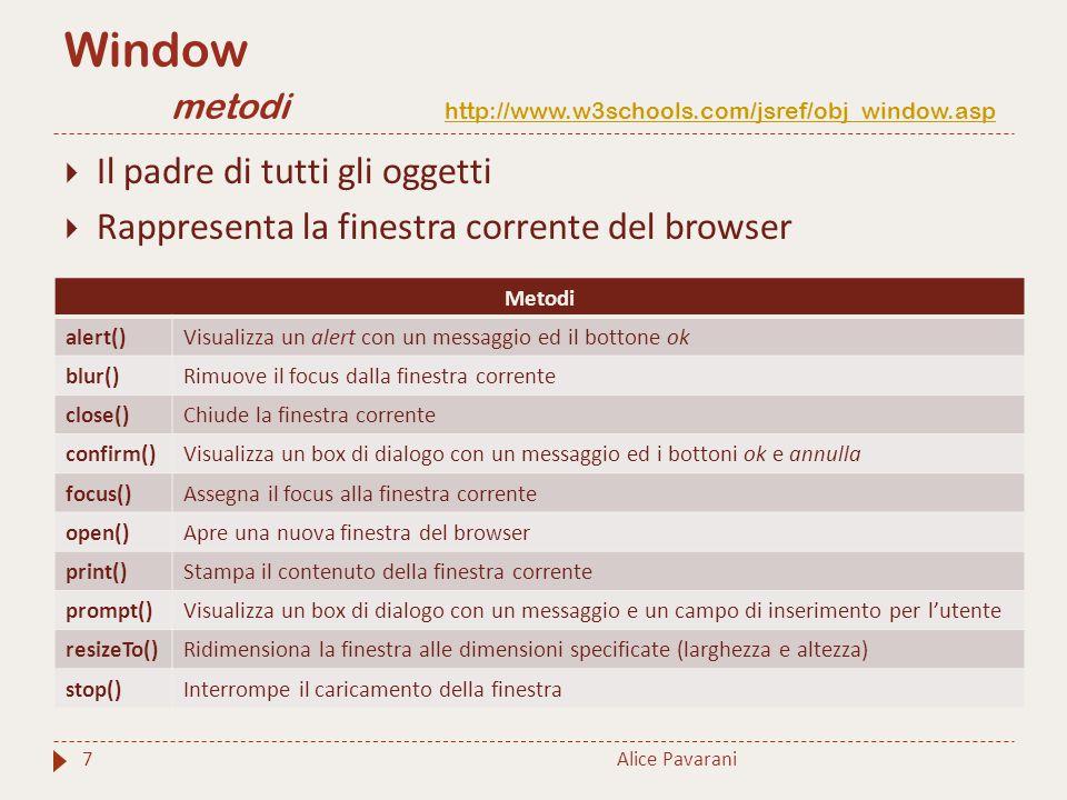 Window metodi http://www.w3schools.com/jsref/obj_window.asp