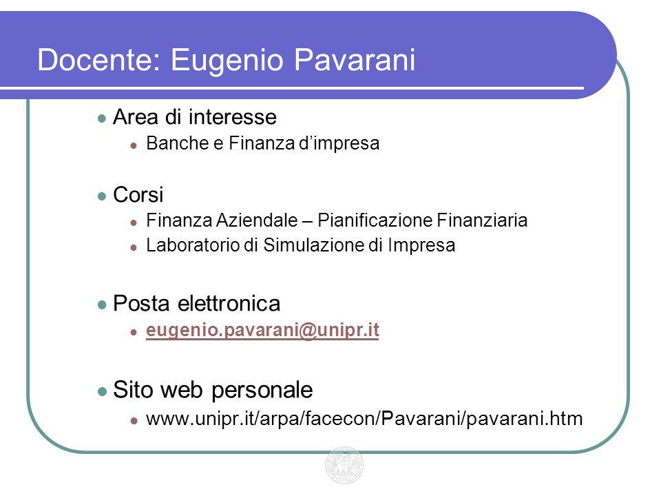Docente: Eugenio Pavarani