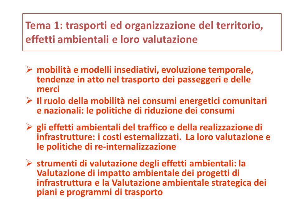 Tema 1: trasporti ed organizzazione del territorio, effetti ambientali e loro valutazione