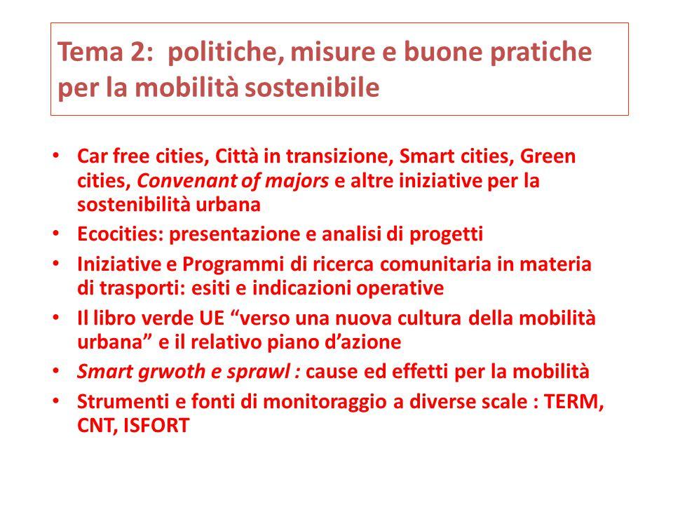 Tema 2: politiche, misure e buone pratiche per la mobilità sostenibile