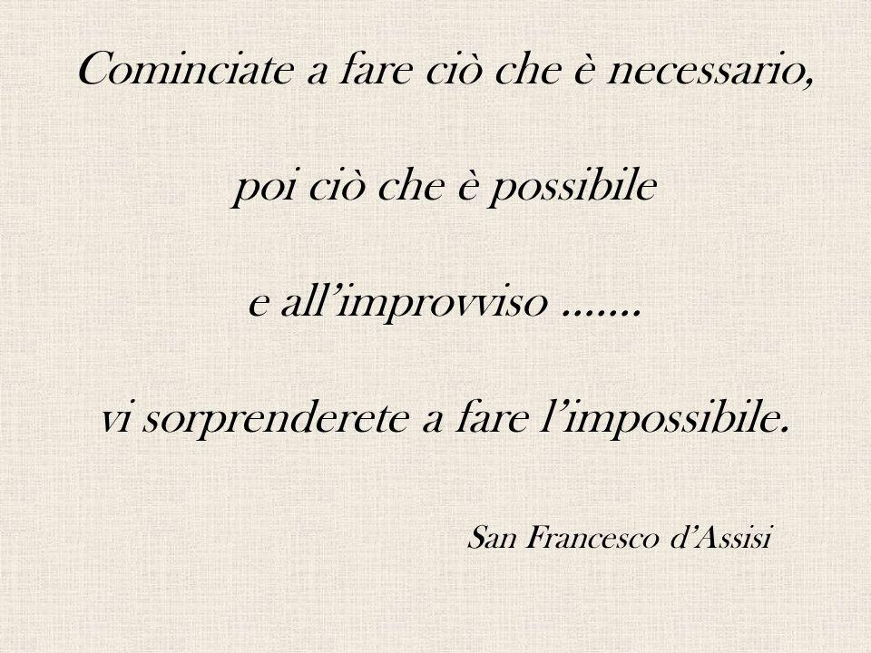 Cominciate a fare ciò che è necessario, poi ciò che è possibile e all'improvviso …….